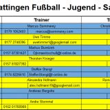 Trainingszeiten der Fußball - Jugend Saison 18/19